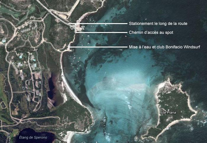 Plan accès spot Windsurf Piantarella